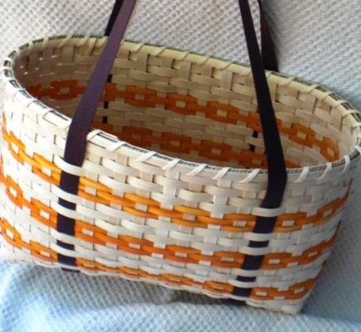 Large Handwoven Tote Basket in Orange and Brown